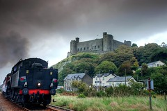 Wales: Harlech Castle (Tim Blessed) Tags: trees sky mountains castles nature wales clouds landscapes countryside scenery trains harlech northwales steamengines theunforgettablepictures singlerawtonemapped
