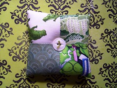 crocodile chomp (rosie.ok) Tags: handmade sewing brooch craft pillow fabric quilting accessories patchwork scrap