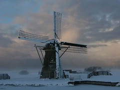 Mill in winter (maarten49) Tags: winter snow holland mill netherlands clouds landscape absolutelystunningscapes