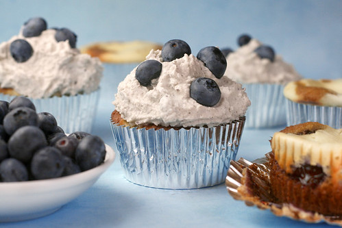 Blueberry Basil Cheesecake Cupcakes