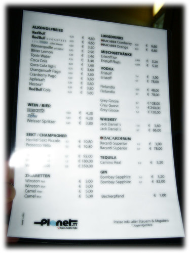 prices for drinks at the Stargate Premium Series III (Vienna, Planet.tt @ Gasometer)