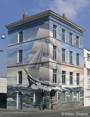 The Ship House (Eliseo Oliveras) Tags: street city brussels urban house streetart building wall architecture painting graffiti europa europe ship belgium belgique surrealism surreal bruxelles bruselas belgica sailingship muralpainting goldstaraward eliseooliveras