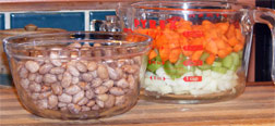 Ingredients for Pinto Bean Barley Soup: pintos, onion, celery, carrot, and barley