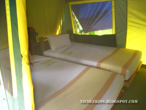 twin bed in tent
