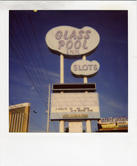 Glass Pool Inn (Nick Leonard) Tags: old city blue sky classic film sign analog vintage polaroid photography lasvegas nevada nick motel scan powerlines 600 mandalaybay slots glasspoolinn sun600 600film type600 filmexpired vacent filminstant nickleonard filmintegral