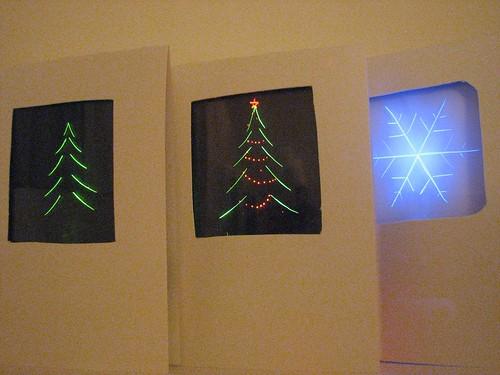 Edge lit holiday cards evil mad scientist laboratories