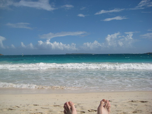 Enjoying a relaxing beach chair and umbrella watching the waves come in on St. Martin
