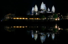 Angkor Wat at night (kees straver (will be back online soon friends)) Tags: door longexposure travel orange white reflection tree sunrise children temple lights ruins asia cambodia southeastasia khmer child monk buddhism places angkorwat monks siemreap angkor wat bayon keesstraver