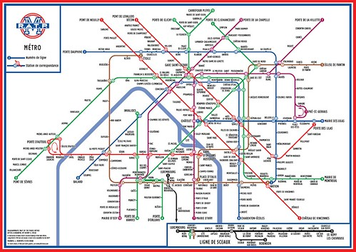 Diagrammatic Map of Paris Metro after a Drawing by Henry C. Beck - Maxwell Roberts