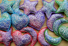 Return of the silk decs! (Wychbury Designs) Tags: christmas decorations red green hearts stars purple spirals embroidery turquoise silk felt ornaments moons embroidered silkpainting wychbury