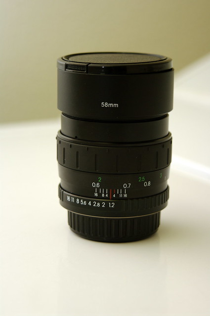 Cosina 55mm f/1.2 with Hoya +4 close-up filter