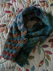 f o (qusic) Tags: scarf germany mixed crochet flowerbed rowan fo kidsilkhaze fhr noro diamondpattern csquiltdesign