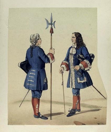 020-Casa real alabarderos guardia y oficial año 1700