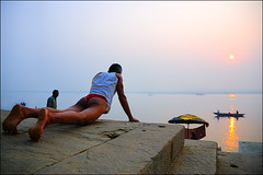 Body Building (Apratim Saha) Tags: portrait people sun india color sunrise nikon indian nikond70s varanasi dailylife kashi soe ganga nationalgeographic ganges benaras 1870 northindia bestphoto colorphotoaward apratim lifeinindia benarash lifeculture apratimsaha
