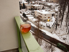 tea time (sulo~) Tags: snow balcony olympus bratislava zuikodigital e520 1260mm liptonlemonhoney kuklovska