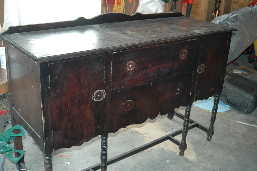 Antique Buffet we are making into the changing table