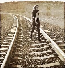 043 (OceanBaby-in-SLC) Tags: texture girl sepia vintage highheels photoshoot desert lasvegas traintracks jeans