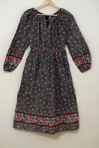 Vintage boho blue floral dress