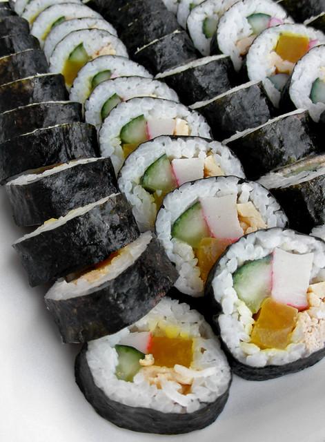 Kimbap - popular varieties include beef and tuna.