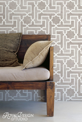Large Moroccan Key Allover Wall Stencil by Royal Design Studio