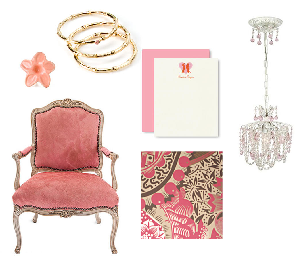 pink chandelier, and the Bedlam patterned wallpaper which I