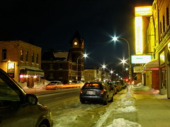 downtown - saturday nite (glenn~) Tags: longexposure winter snow ontario streets tower cars clock night lights star town small lamppost 2008 streaking wingham