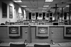 cybercafe (pfig) Tags: leica blackandwhite bw film 35mm office image w communication monitors keyboards neopan1600 cybercafe pfig csm2008