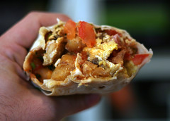 Up Close and Personal with My El Taco Breakfast Burrito (Marshall Astor - Food Fetishist) Tags: food bacon delicious foodporn eggs chorizo burrito breakfastburrito iatethis halfeaten eltaco thingsiveeaten