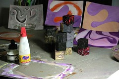 Blocks, paintings, glue and Ink