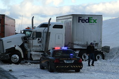 No overnight delivery here (Jenni Reynolds-Kebler) Tags: accident 100views delivery 400views wyoming fedex interstate80 highwaypatrol commercialvehicle justbyaccident