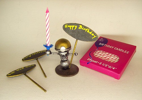 Robot Birthday or ANY Cake Topper AND Candle Holder Wood Bobby Statue 2
