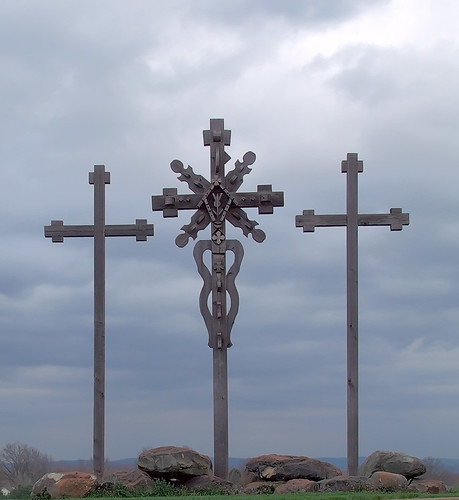 Crosses, at Knights of Columbus Hall, in Washington, Missouri, USA