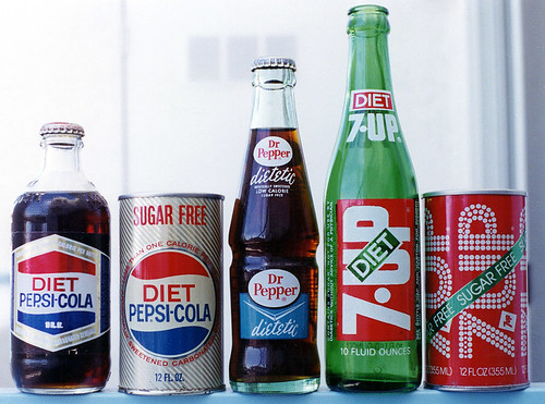 Photo of old diet sodas in bottles and cans