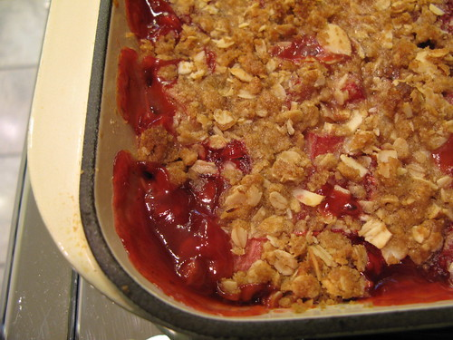 Strawberry Rhubarb crisp with cardamom and nutmeg