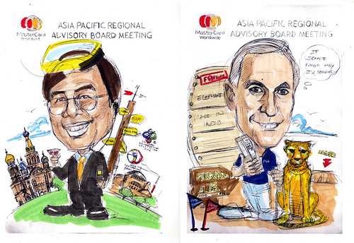 Caricatures of TST and Heuer Mastercard pencil sketch with colour scheme