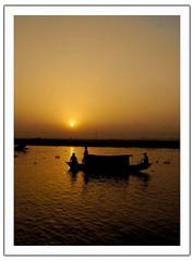 Into the dark (S'uhas [ BAT out of HELL ]) Tags: sunset sun reflection nature water boat nikon natural dhaka bangladesh silhoutte arif suhas mirpur 1855mmnikkor nikond40 arifulislam arifgraphy