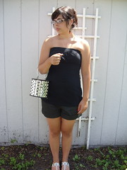 July 6, 2008 (Mis-anthrope) Tags: girl wardroberemix outside glasses backyard bored janna tubetop vintagepurse