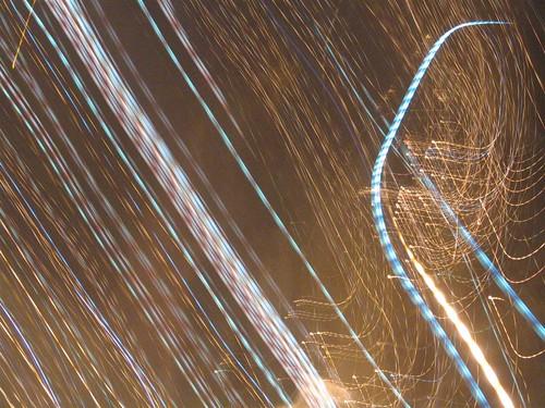 Streaks of light on a long exposure