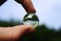 marble (hool a hoop) Tags: trees sky reflection hands fingers marble