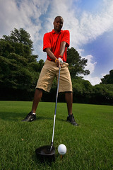 Wide Angle Golf (jstancel) Tags: atlanta portrait black golf georgia photography photo nikon picture wideangle bluesky nike photograph africanamerican ping golfer greengrass sigma1020mm 10mm sb25 maxfli allrightsreserved strobist canonxti jstancel