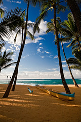 Beached Outrigger Canoe (Rex Maximilian) Tags: ocean tree beach clouds hawaii sand pacific maui palm canoe roadtohana tikitorch outrigger mamasfishhouse