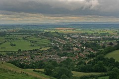 View Across Glastonbury Town (Simon J. Newbury) Tags: uk england tower english heritage church lines arthur king ruin glastonbury somerset hills holy ley tor stmichaels grail levels avalon mendip quantock josephofarimathea isleofavalon