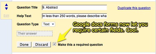 Google docs forms let you require fields