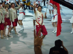 Roger Federer with the Swiss flag
