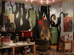Studio with new mural (annotated) (verpabunny) Tags: original studio mural acrylic paintings artstudio kellyvivanco