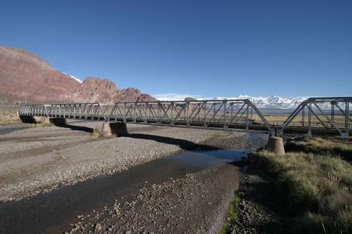 Crossing Rio Mendoza, Argentina.
