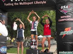 Johnanna Gartman on the podium at the Youth Elite National Triathlon Championships in Colorado