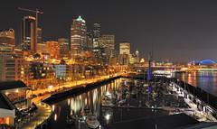 Seattle from Pier 66 (JM Clark Photography (jamecl99)) Tags: seattle longexposure night boats lights washington dock nikon pugetsound qweststadium d700