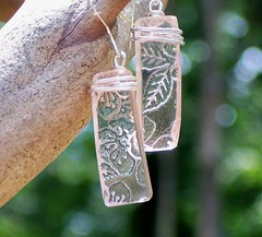 Pink Depression Glass Earrings (Bottledupdesigns) Tags: history glass amber necklace recycled handmade antique unique craft jewelry earrings ruby recycle cobalt clorox repurpose greendepressionglass upcycle noxzema pinkdepressionglass wwwbottledupdesignscom