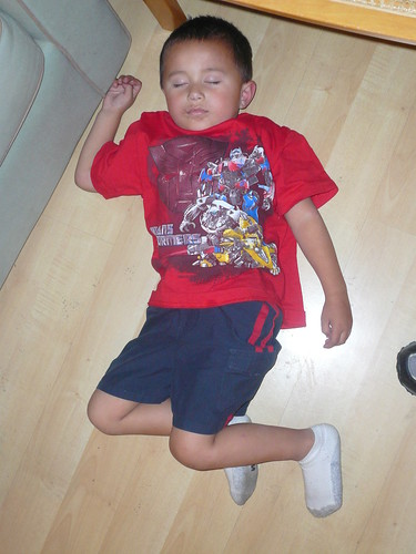 Gavin asleep on the floor